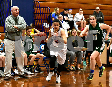 2/28/2017 Mike Orazzi | Staff St. Paul's Amelia Sanchez (22) during Tuesday night's Class M First Round State Girls Basketball Tournament with Griswold in Bristol.