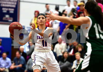 2/28/2017 Mike Orazzi | Staff St. Paul's Janessa Gonzalez (11) during Tuesday night's Class M First Round State Girls Basketball Tournament with Griswold in Bristol.