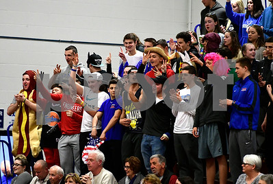 2/28/2017 Mike Orazzi | Staff St. Paul's Falcons Nest during Tuesday night's Class M First Round State Girls Basketball Tournament with Griswold in Bristol.