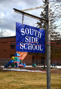 2/8/2017 Mike Orazzi | Staff A loaded gun was found outside South Side School this morning in Bristol.