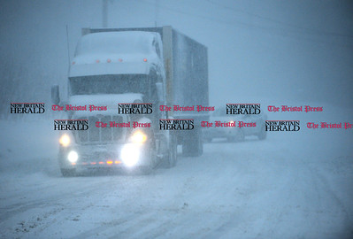 2/9/2017 Mike Orazzi | Staff A semi truck and trailer unable to proceed West on Route 6 in Bristol Thursday morning.