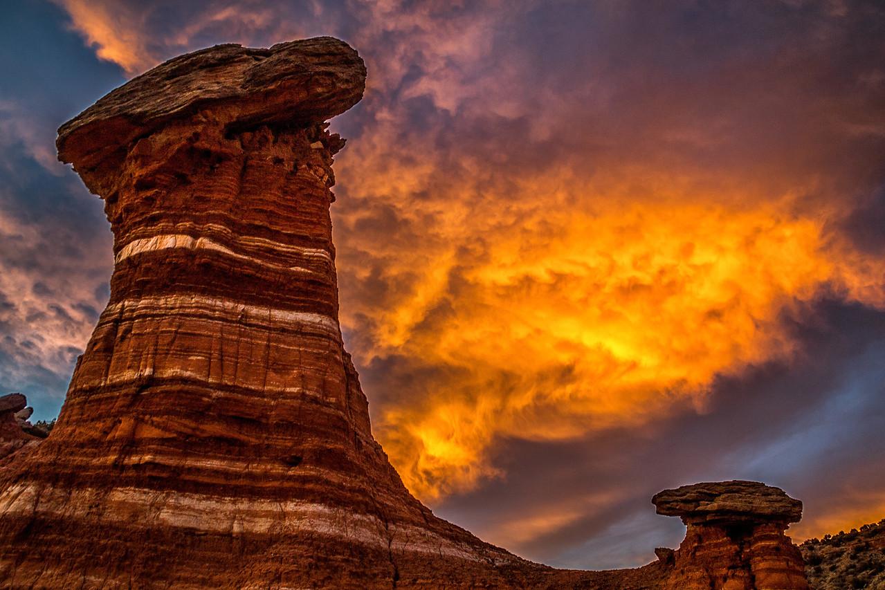 Hoodoo sunset at Palo Duro Canyon