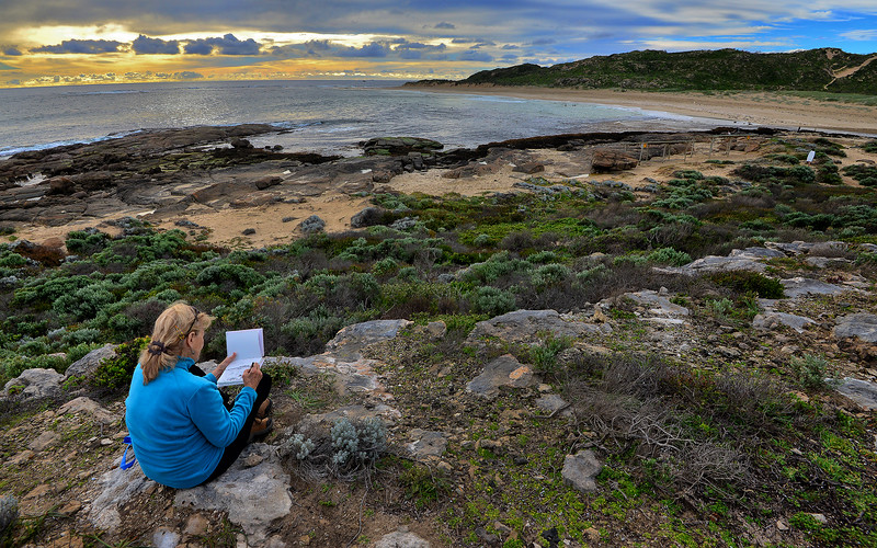 Doe sketching at the mouth of the Margaret River, September 2013.