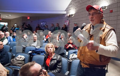 02/05/18  Wesley Bunnell | Staff   A public hearing was held Monday evening at Plainville Middle School regarding the Farmington Canal Heritage Trail Gap Closure Trail Study.  Larry Pelletier stands as he speaks against the proposed alignment.