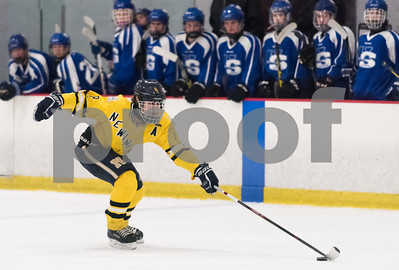 02/14/18  Wesley Bunnell | Staff  Hall-Southington hockey vs Newington-Berlin on Wednesday night at Newington Arena. Newington's Robert Allan (8).