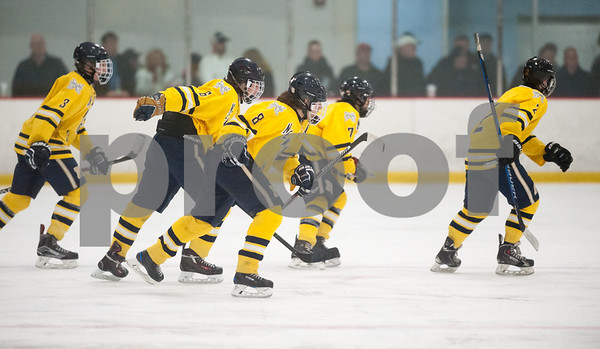 02/14/18  Wesley Bunnell | Staff  Hall-Southington hockey vs Newington-Berlin on Wednesday night at Newington Arena. Newington players skate in unison off the ice after a score. Pat Doherty (3), Sam Davies (6), Cade Palladino (8), Andrew Graham (7) and Kyle Bucher (2).