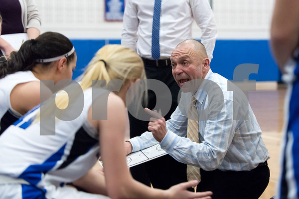02/15/18 Wesley Bunnell | Staff Southington girls basketball defeated E.O. Smith 68-51 Thursday night at Southington High School in a CCC Tournament contest. Head Coach Mike Forgione during a time out.