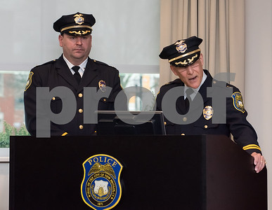 02/15/18  Wesley Bunnell | Staff  The New Britain Police Department promoted three of its own including the first female Captain in its history.  Police Chief James Wardwell gives his remarks.