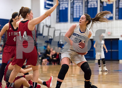 02/15/18  Wesley Bunnell | Staff  Southington girls basketball defeated E.O. Smith 68-51 Thursday night at Southington High School in a CCC Tournament contest.  Janette Wadolowski (33).