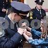 02/15/18  Wesley Bunnell | Staff<br /> <br /> The New Britain Police Department promoted three of its own including the first female Captain in its history.  Newly promoted Captain Jeanette Portalatin has her badge pinned on her uniform with the help of her six year old daughter Mika.