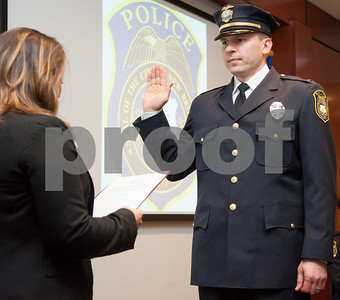 02/15/18  Wesley Bunnell | Staff  The New Britain Police Department promoted three of its own including the first female Captain in its history.  Adam Rembisz who was promoted to lieutenant is sworn in by Mayor Erin Stewart.