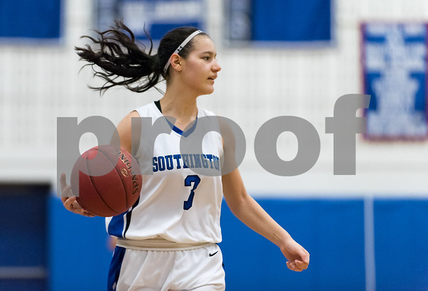 02/15/18 Wesley Bunnell | Staff Southington girls basketball defeated E.O. Smith 68-51 Thursday night at Southington High School in a CCC Tournament contest. Bri Harris (3).