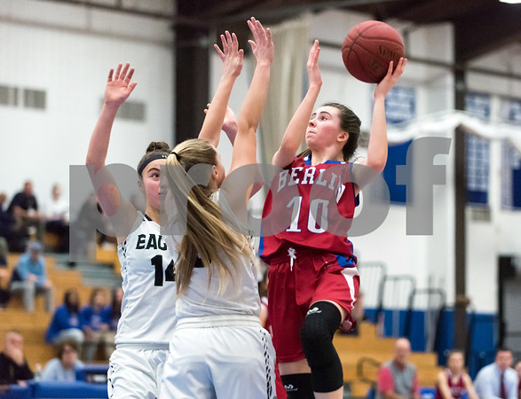 02/20/18 Wesley Bunnell | Staff Berlin girls basketball was defeated 80-50 by Enfield at Glastonbury High School on Tuesday night during the CCC tournament. Ashley Wenzel (10).