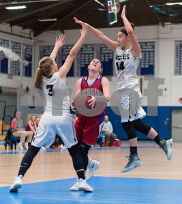 02/20/18  Wesley Bunnell | Staff  Berlin girls basketball was defeated 80-50 by Enfield at Glastonbury High School on Tuesday night during the CCC tournament. Angela Perrelli (14) is fouled but also comes away with the basket.