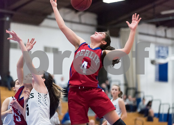 02/20/18 Wesley Bunnell | Staff Berlin girls basketball was defeated 80-50 by Enfield at Glastonbury High School on Tuesday night during the CCC tournament. Lyzi Litwinko (4).