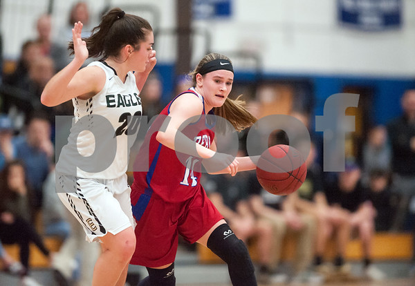 02/20/18 Wesley Bunnell | Staff Berlin girls basketball was defeated 80-50 by Enfield at Glastonbury High School on Tuesday night during the CCC tournament. Angela Perrelli (14).