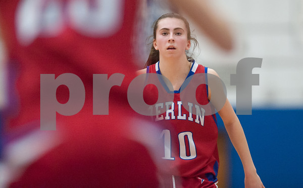 02/20/18 Wesley Bunnell | Staff Berlin girls basketball was defeated 80-50 by Enfield at Glastonbury High School on Tuesday night during the CCC tournament. Ashley Wenzel (10) looks for a pass.
