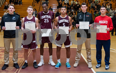 02/27/18  Wesley Bunnell | Staff  Bristol Central boys basketball was defeated 74-40 by East Catholic at Bulkeley High School on Tuesday night during the CCC tournament.  Members of the CCC All Conference Team are Bristol Eastern's MacGregor Goulet, Bristol Central's Noah Plantamuro, Jaekwon Spencer, Isaiah Miller, Berlin's Mike McCarthy and Gianni Fanelli.