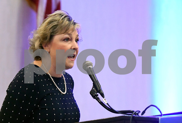 2/21/2018 Mike Orazzi | Staff Sue Sadecki during the Central Connecticut Chambers of Commerce's 2018 Legislative Breakfast held at the DoubleTree by Hilton Hotel Bristol in Bristol Wednesday morning.
