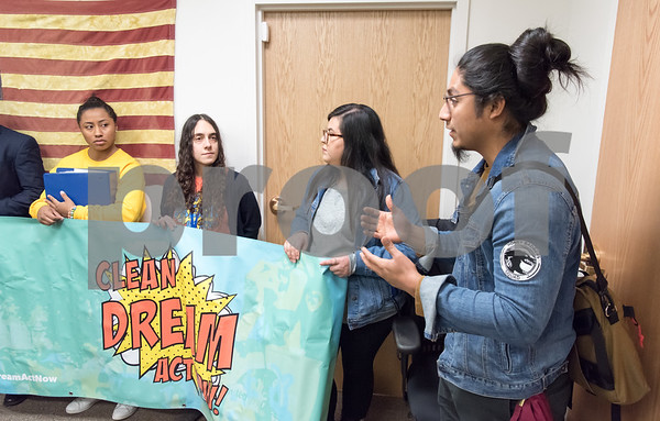 02/22/18 Wesley Bunnell | Staff Activists dropped off over 600 signed letters at office of Congresswoman Elizabeth Esty (CT-5) on Thursday afternoon in support of the Clean Dream Act which seeks to help undocumented immigrant youth. CT Students for a Dream's Eric Cruz-Lopez, R, speaks as fellow members look on.