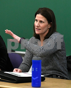 2/28/2018 Mike Orazzi | Staff Panelists  Joanna Blumetti during a discussion about the opioid crisis held at Tunxis Community College, Wednesday afternoon.