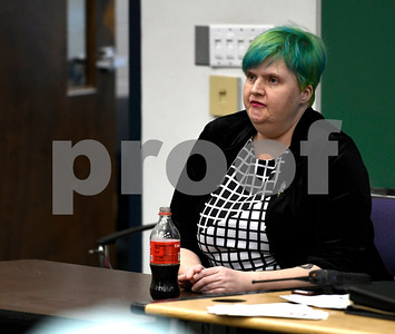 2/28/2018 Mike Orazzi | Staff Sarah Nichols during a discussion about the opioid crisis held at Tunxis Community College, Wednesday afternoon as part of the college's Civic Engagement Institute's series of free public events.