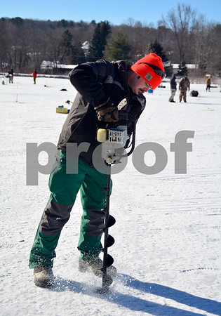 2/3/2018 MIke Orazzi | Staff Oran Vernesoni during the Terryville Fish & Game Club's annual ice fishing derby held on Middle Pond Saturday in Terryville.