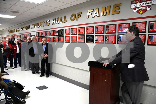 2/3/2018 Mike Orazzi | Staff Bart Bovee talks about the ew home of the Berlin High School Hall of Fame inside the newly renovated Berlin High School on Saturday.
