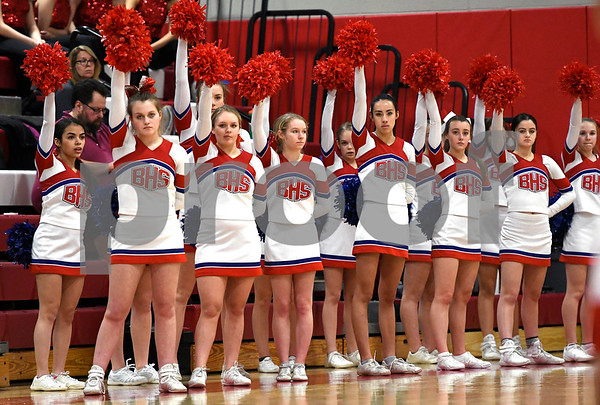 2/3/2018 Mike Orazzi | Staff Berlin High School cheerleaders during Saturday's boys game with Farmington in Berlin.