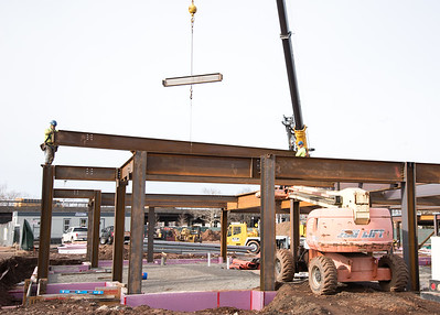 02/06/19  Wesley Bunnell | Staff  Steel workers are shown installing beams on the Columbus Commons construction project on Wednesday afternoon.