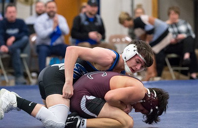 02/06/19  Wesley Bunnell | Staff  Bristol Eastern wrestling vs Bristol Central on Wednesday night at BE High School.  BC's Adam Ward vs BE's Riley McCarthy in the 120lb match.