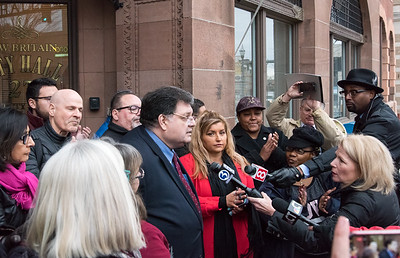 02/06/19  Wesley Bunnell | Staff  City Democrats held a press conference outside of city hall on Wednesday afternoon calling on former mayor and current president of the NB Chamber of Commerce Tim Stewart to resign his position with the chamber and within the city after recent Facebook remarks.  Alderman Carlo Carlozzi and Alderwoman Eva Magnuszewski speak to the press outside of city hall.