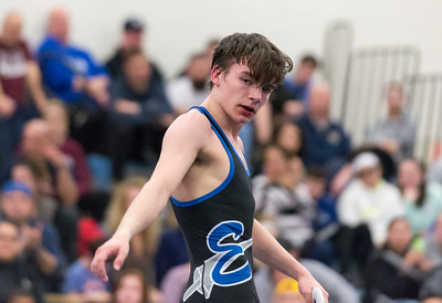 02/06/19  Wesley Bunnell | Staff  Bristol Eastern wrestling vs Bristol Central on Wednesday night at BE High School.  BE's Riley McCarthy after winning his 120lb match.
