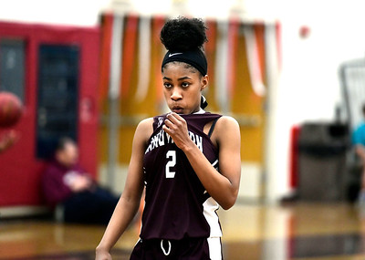 2/8/2019 Mike Orazzi | Staff Innovation's Chelsea WrayBrown (2) during Friday night's girls basketball game with Bristol Central in Bristol.