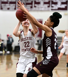 2/8/2019 Mike Orazzi | Staff Bristol Central's Kayla Beaulieu (22) during Friday night's girls basketball game with Innovation.
