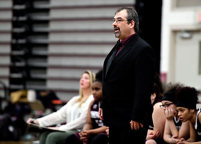 2/8/2019 Mike Orazzi | Staff Innovation Girls High School Basketball Coach Michael P. Jessie Jr during Friday night's girls basketball game with Bristol Central in Bristol.