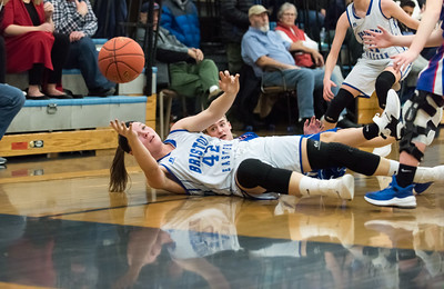 02/25/19  Wesley Bunnell | Staff  Bristol Eastern girls basketball vs Waterford in a CIAC tournament game at Bristol Eastern High School. Avery Arbuckle (42) goes to the ground to fight for a loose ball.