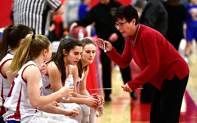 2/26/2019 Mike Orazzi | Staff Berlin Girls Basketball Coach Shelia King during the CIAC 2019 State Girls Basketball Tournament with Plainville at Berlin High School Tuesday night.