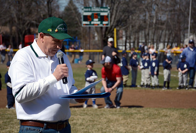 4/12/2014 Mike Orazzi | Staff Bob Kalat talks about Bob Watson at the opening ceremonies for Forestville Little League's 60-year anniversary in Bristol Saturday morning. The field was re-named in honor Watson.