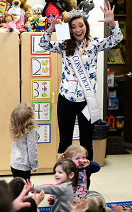 2/1/2019 Mike Orazzi | Staff Miss Connecticut Bridget Oei during a visit to the South Side School in Bristol Friday morning.