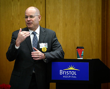 2/12/2019 Mike Orazzi | Staff Bristol Hospital President and CEO Kurt A. Barwis during the President's Forum Breakfast Tuesday morning.