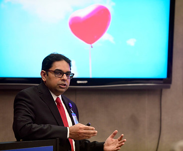 2/12/2019 Mike Orazzi | Staff Cardiologist Fawad Kazi during the President's Forum Breakfast Tuesday morning at Bristol Hospital.