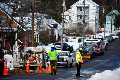 2/13/2019 Mike Orazzi | Staff The scene of a gas leak on Norton Street in Bristol Wednesday morning.