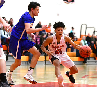 2/15/2019 Mike Orazzi | Staff Terryville High School's Devonne Dao (20) during  Friday night's boys basketball game with Housatonic Regional in Plymouth.