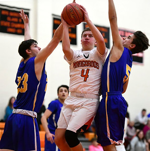 2/15/2019 Mike Orazzi | Staff Terryville High School's Zach Rinkavage (4) during  Friday night's boys basketball game with Housatonic Regional in Plymouth.