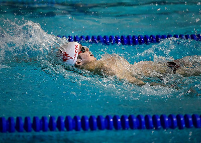 2/19/2019 Mike Orazzi | Staff Bristol Swim Team's Colton Litwinczyk in the 200 IM during Tuesday's meet with Middletown in Bristol.