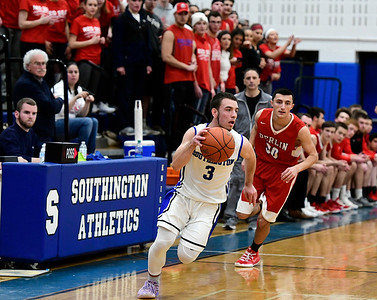 2/21/2019 Mike Orazzi | Staff Southington's Colin Burdette (3) during the CCC Boys Basketball Tournament in Southington Thursday night.