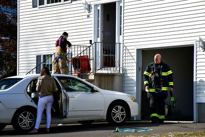 2/21/2019 Mike Orazzi | Staff Members of the Bristol Fire Department while venting a home on Bernie Avenue after high levels of CO were detected Thursday afternoon.
