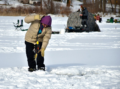 2/2/2019 Mike Orazzi | Staff Paul Teixeira while fishing on Middle Pond for the Terryville Fish & Game Club's annual Ice Fishing Derby Saturday in Plymouth.