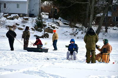 2/2/2019 Mike Orazzi | Staff Anglers while fishing on Middle Pond for the Terryville Fish & Game Club's annual Ice Fishing Derby Saturday in Plymouth.